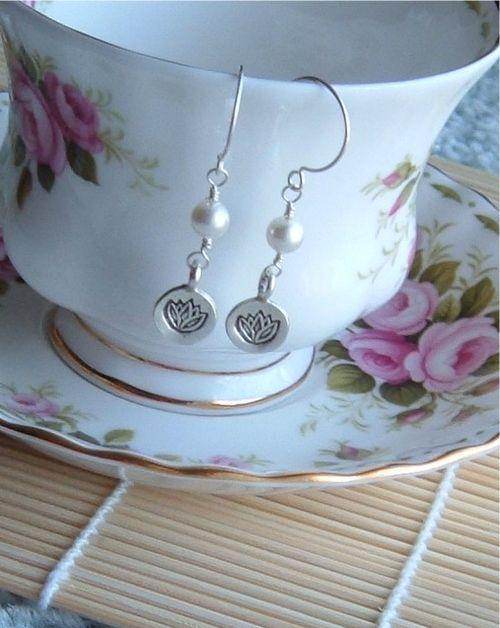 Opal lotus earrings